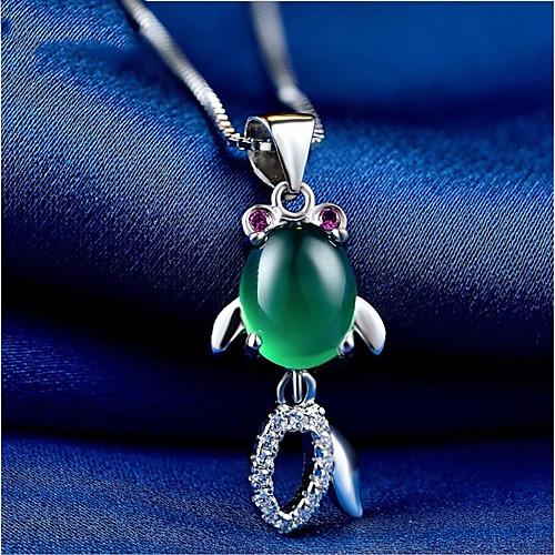 Жен. Оникс Ожерелья с подвесками Стерлинговое серебро S925 корейский Мода Cool Темно-зеленый 2 cm Ожерелье Бижутерия 1шт Назначение Свадьба Повседневные