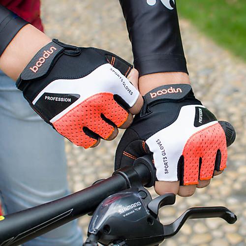 Перчатки для велосипедистов Перчатки для горного велосипеда Горные велосипеды Дышащий Противозаносный Ударопрочность Защитный Без пальцев Полупальцами Спортивные перчатки Лайкра Махровая ткань фото