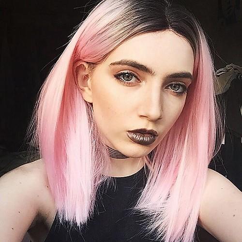 Синтетические кружевные передние парики Прямой Kardashian Стиль Стрижка боб Лента спереди Парик Розовый Розовый Искусственные волосы Жен. Розовый Парик Средние