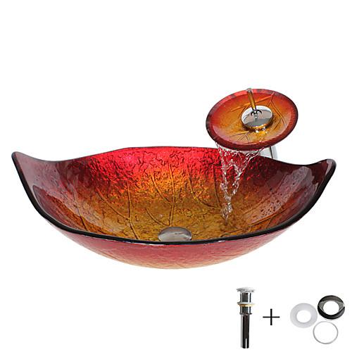 умывальник для ванной / смеситель для ванной / монтажное кольцо для ванной Античный - Закаленное стекло Прямоугольный