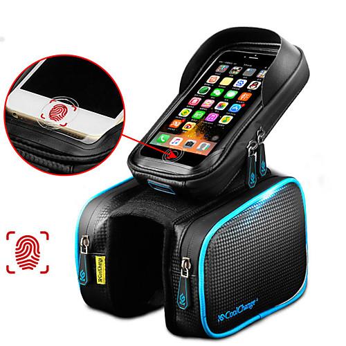 CoolChange Сотовый телефон сумка Бардачок на раму Верхняя сумка для трубки 6.2 дюймовый Сенсорный экран Отражение Водонепроницаемость Велоспорт для Samsung Galaxy S6 iPhone 5c iPhone 4/4S / iPhone X, Черный