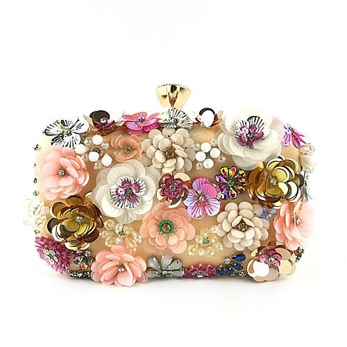 Жен. Бусины / Кристаллы Полиэстер Вечерняя сумочка Хрустальные сумочки из хрусталя Цветочный принт Миндальный фото