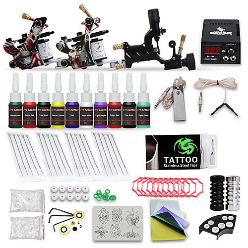 DRAGONHAWK Татуировочная машина Набор для начинающих - 3 pcs татуировки машины с 10 x 5 ml татуировки чернила, профессиональный уровень, Регуляция напряжения, Простота настройки Сплав LCD питания No