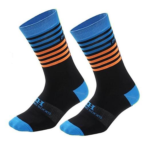 Компрессионные носки Спортивные носки Носки для велоспорта Муж. Велоспорт Дышащий Велоспорт Пригодно для носки 1 пара В полоску Нейлон Спандекс Розовый зеленый Голубой оранжевый Серый зеленый фото
