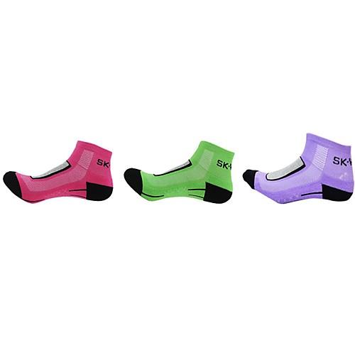 Компрессионные носки Спортивные носки / спортивные носки Носки для велоспорта Жен. Велоспорт Сохраняет тепло Дышащий Стреч 3 пары Разные цвета Хлопок Другое Розовый с красным Зеленый Фиолетовый
