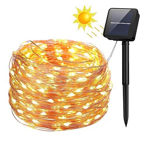 Zdm 100 светодиодов 10m33ft серебряный медный провод солнечной энергии струнные фонари открытый звездные фея струнные огни с 8 фото
