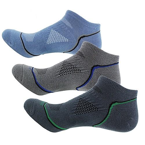 Компрессионные носки Носки до щиколотки Носки для бега Спортивные носки Носки для велоспорта Муж. Велоспорт Дышащий 3 пары В полоску Хлопок Темно-серый Синий Серый Один размер / Эластичная фото