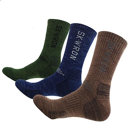 Носки для пешеходного туризма Спортивные носки Длинные носки Толстые короткие носки 3 пары Легкость Стреч Мода Хлопок Зима для Муж. Катание на лыжах Восхождение На открытом воздухе Коричневый фото
