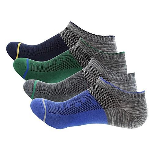 Носки для бега Носки для пешеходного туризма Спортивные носки Носки до щиколотки Низкие носки 4 пары Легкость Дышащий Стреч Мода Хлопок Весна для Муж. На открытом воздухе Темно-серый / Зима / Зима фото