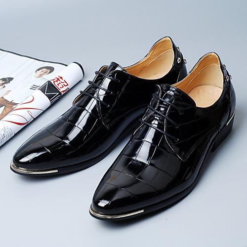 Муж. Официальная обувь Микроволокно Весна Деловые Туфли на шнуровке Черный / Красный / Синий
