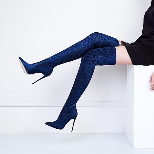 Жен. Fashion Boots Эластичная ткань Наступила зима Классика Ботинки На шпильке Заостренный носок Бедро высокие сапоги Пайетки Зеленый / Винный / Тёмно-синий / Свадьба / Для вечеринки / ужина