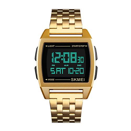 Муж. Спортивные часы электронные часы Японский Цифровой Нержавеющая сталь Черный / Серебристый металл / Золотистый 30 m Защита от влаги Календарь Секундомер Цифровой Кольцеобразный Мода - / Два года фото