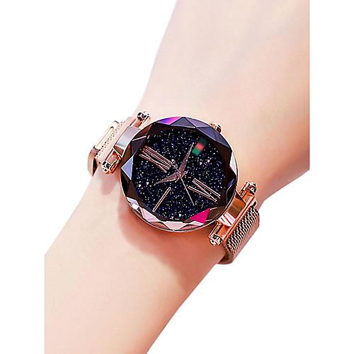 Жен. Наручные часы золотые часы Кварцевый Черный / Синий / Фиолетовый 30 m Защита от влаги Творчество Аналоговый Дамы На каждый день Мода астрономический - Лиловый Синий Розовое золото