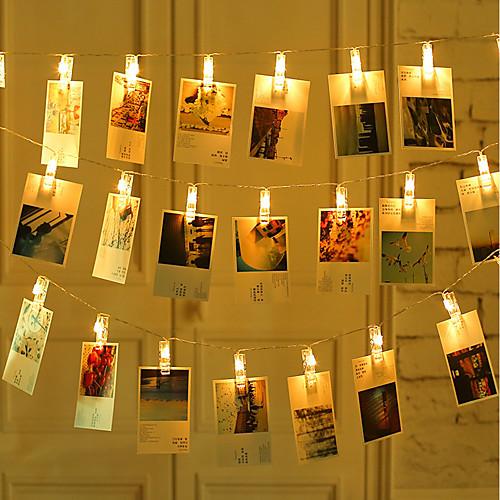 ZDM 2 м 20 шт. светодиодные фонари для фото строк 20 фото клипов с питанием от батареи или USB-интерфейс фея мерцают светомшанги фото карты и произведения искусства теплый белый фото