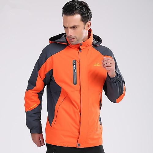 Deshengren Муж. Куртка для туризма и прогулок / Куртки 3-в-1 На открытом воздухе Осень / Зима С защитой от ветра, Водонепроницаемость, Сохраняет тепло Зимняя куртка / Верхняя часть / Дышащий, Оранжевый