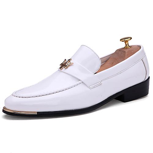 Муж. Официальная обувь Синтетика Весна & осень Деловые / Английский Мокасины и Свитер Нескользкий Черный / Синий / Винный