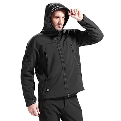 Муж. толстовка с капюшоном куртки Куртка софтшелл для туризма и прогулок на открытом воздухе Зима / Водонепроницаемость / Дышащий / С защитой от ветра / Флис / Софтшел, Коричневый