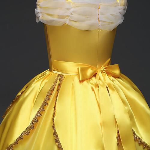 lightinthebox / Belle Fantasias de Cosplay Crianças Para Meninas Vestidos Natal Dia Das Bruxas Carnaval Festival / Celebração Tule Algodão Amarelo Trajes de Carnaval Rendas