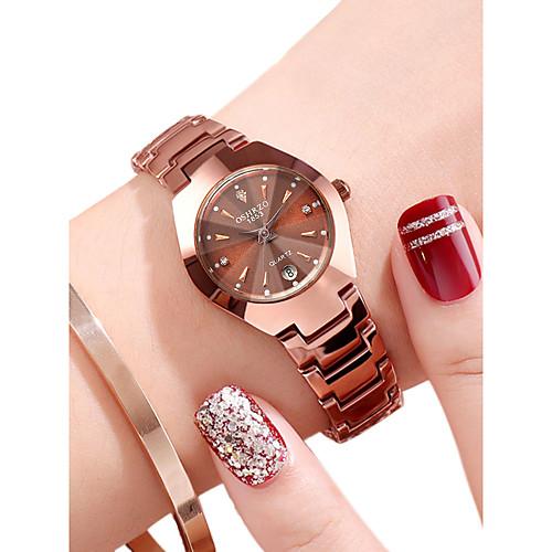 Жен. Наручные часы золотые часы Кварцевый Нержавеющая сталь Черный / Розовое золото 30 m Защита от влаги Календарь Аналоговый На каждый день Мода - Черный Розовое золото