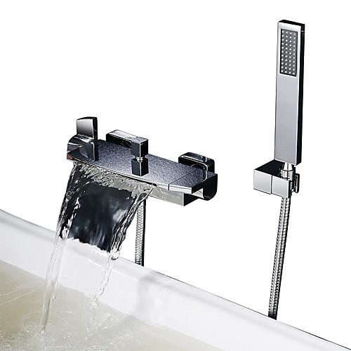 Смеситель для душа / Смеситель для ванны - Современный Хром Ванна и душ Керамический клапан Bath Shower Mixer Taps / Две ручки двумя отверстиями