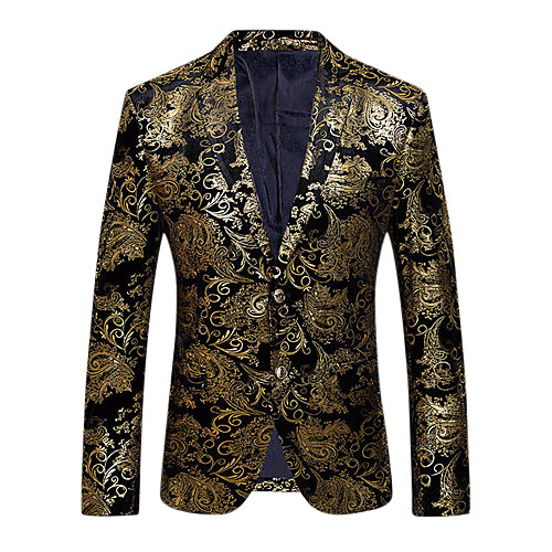Men's Party / Daily / Club Sophisticated / Exaggerated Spring / Fall Regular Blazer, Floral V Neck Long Sleeve Cotton / Polyester Print Gold / Silver XL / XXL / XXXL / Slim