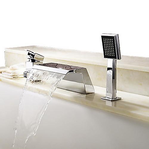 Смеситель для ванны - Современный Хром Римская ванна Керамический клапан Bath Shower Mixer Taps / Одной ручкой три отверстия