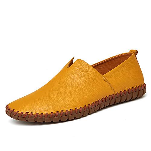Муж. Кожаные ботинки Кожа Весна & осень Мокасины и Свитер Темно-синий / Желтый / Коричневый