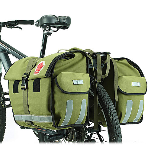 ROSWHEEL 45 L Сумка на багажник велосипеда / Сумка на бока багажника велосипеда Регулируется Большая вместимость Водонепроницаемость Велосумка/бардачок холст Водонепроницаемый материал, Зеленый