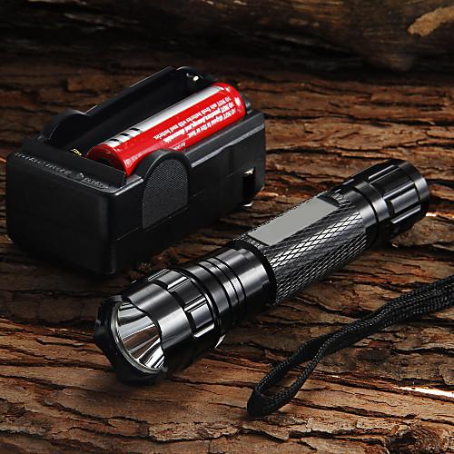 UltraFire Светодиодные фонари 1200 lm Светодиодная лампа LED 1 излучатели 5 Режим освещения с батареей и зарядным устройством Фокусировка / Алюминиевый сплав / 5 (сильн.> средн.> слаб.> строб> SOS) фото