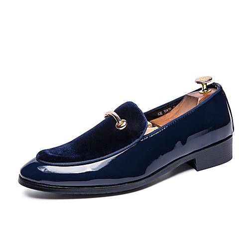 Муж. Комфортная обувь Лакированная кожа Весна лето На каждый день Мокасины и Свитер Нескользкий Черный / Темно-синий