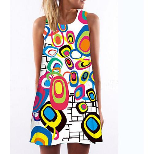 lightinthebox / Mulheres Branco Vestido Diário Reto Geométrica Estampado S M Delgado
