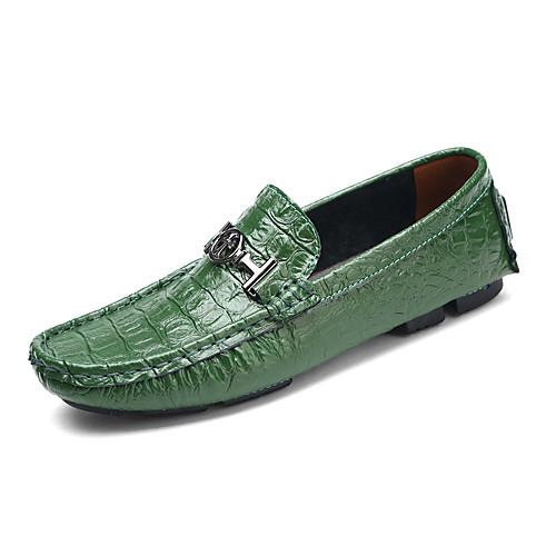 Муж. Кожаные ботинки Кожа Весна На каждый день / Английский Мокасины и Свитер Для прогулок Коричневый / Зеленый / Тёмно-синий
