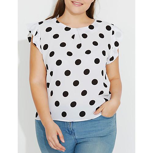 Women's Plus Size Butterfly Sleeves Blouse - Polka Dot Print / Summer / Ruffle