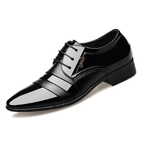 Муж. Комфортная обувь Полиуретан Весна & осень Деловые Туфли на шнуровке Нескользкий Черный