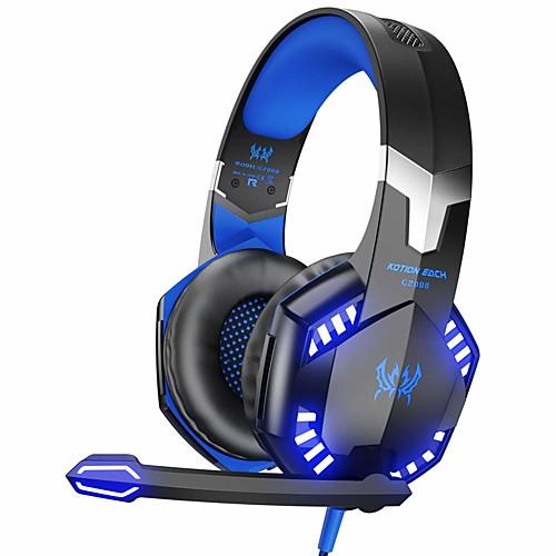 kotion each g2000 стерео-игровая гарнитура для ПК xbox one ps4, накладные наушники с объемным звуком и микрофоном с шумоподавлением, светодиодные фонари, регулятор громкости для ноутбука, mac, ps3, ni, Черный / синий