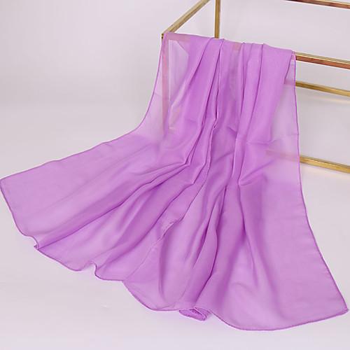 Жен. Классический Прямоугольный платок Шифон, Однотонный / Ткань