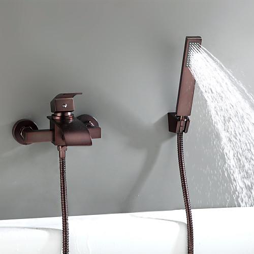 Смеситель для ванны / Смеситель для ванной - Античный Начищенная бронза На стену Керамический клапан Bath Shower Mixer Taps