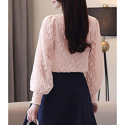 lightinthebox / Mulheres Blusa Sólido Rosa empoeirada Branco