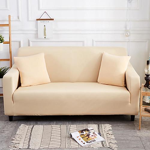 Чехлы на диваны высокие эластичные бежевые комбинаторные мягкие эластичные чехлы из полиэстера фото