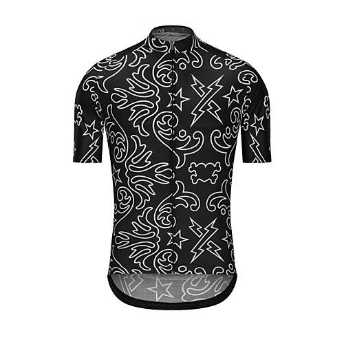 lightinthebox / Homens Manga Curta Camisa para Ciclismo Preto Estrelas Moto Camisa / Roupas Para Esporte Blusas Esportes Roupa / Elasticidade Alta