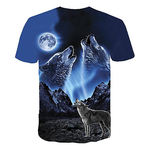 lightinthebox / Homens Camiseta - Bandagem Básico / Moda de Rua Estampado, Animal Decote Redondo Lobo Azul / Manga Curta