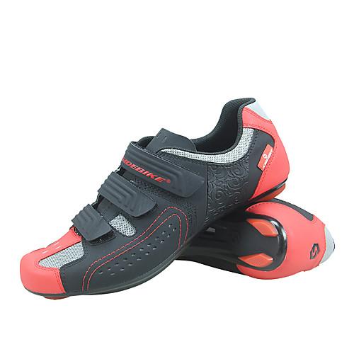 SIDEBIKE Взрослые Обувь для велоспорта Противозаносный Вентиляция Ультралегкий (UL) Шоссейные велосипеды Велосипедный спорт / Велоспорт Черный / красный Муж. Жен. Обувь для велоспорта фото