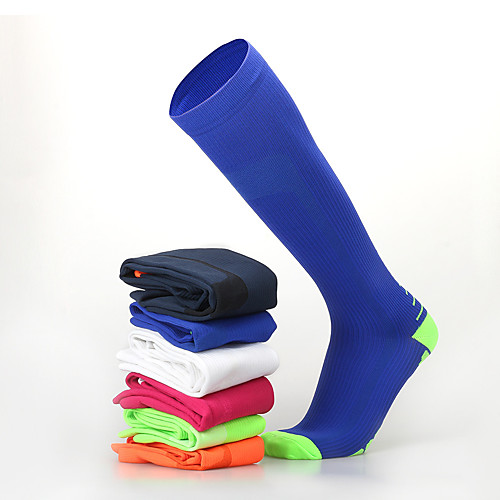 Муж. Жен. Спортивные носки Носки для велоспорта компрессия Носки Длинные носки Дышащий Противозаносный Мягкий Впитывает пот и влагу Поддерживает Черный Оранжевый белый Голубой оранжевый Лайкра фото