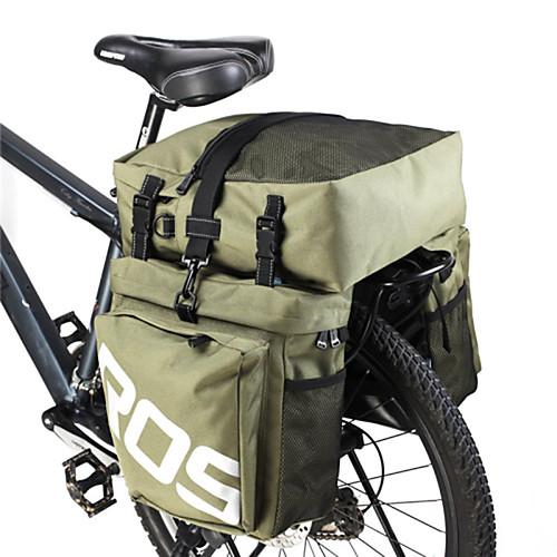 ROSWHEEL 35 L Сумка на багажник велосипеда / Сумка на бока багажника велосипеда 3 В 1 Регулируется Большая вместимость Велосумка/бардачок Кожа PU 600D полиэстер Велосумка/бардачок Велосумка, Военно-зеленный