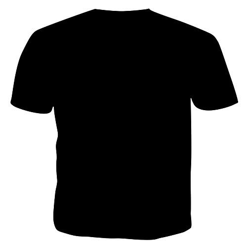 lightinthebox / Homens Camiseta Estampado, 3D / Letra Algodão Decote Redondo Preto