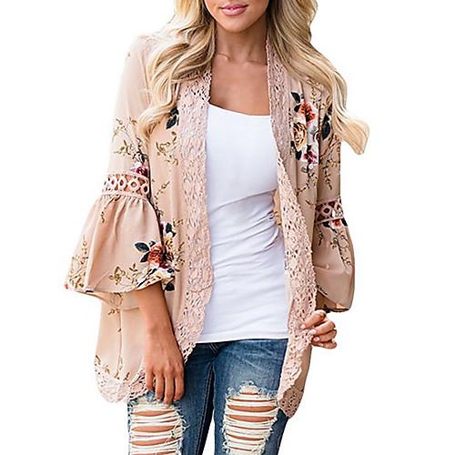 lightinthebox / Mulheres Blusa Estampado, Floral Solto Rosa empoeirada Rosa