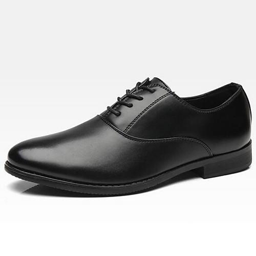 Муж. Официальная обувь Синтетика Весна лето Деловые Туфли на шнуровке Черный / Хаки