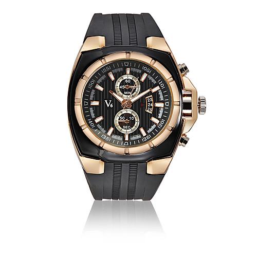 V6 Муж. Спортивные часы Нарядные часы Наручные часы Кварцевый Кожа Черный 30 m Календарь Ударопрочный Аналоговый Роскошь Мода - Черный Серебряный Розовое золото Один год Срок службы батареи
