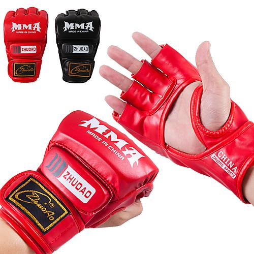 Снарядные перчатки / Профессиональные боксерские перчатки / Тренировочные боксерские перчатки Для Боевые искусства, Бои без правил Без пальцев Защитный PU Универсальные - Черный / Красный