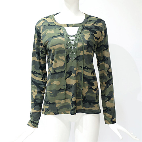 lightinthebox / Mulheres Tamanhos Grandes Camiseta camuflagem Skinny Verde
